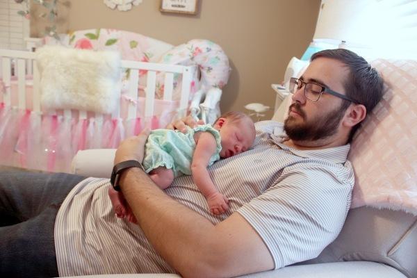 Addie lying on Daddy